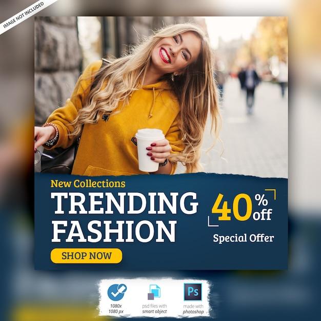 Plantilla de publicación de anuncios de banner de instagram de moda PSD Premium