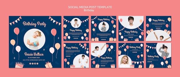 Plantilla de publicación de cumpleaños en redes sociales PSD gratuito