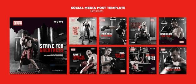 Plantilla de publicación de instagram de anuncio de boxeo PSD Premium