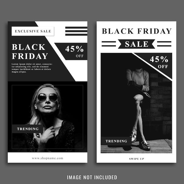 Plantilla de publicación de instagram de black friday PSD Premium