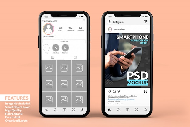 Plantilla de publicación de instagram en maquetas de teléfonos inteligentes premium PSD Premium