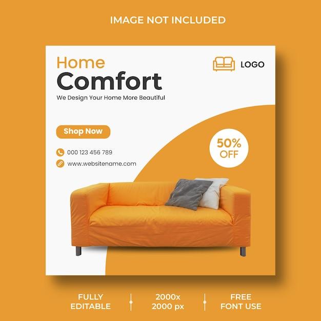 Plantilla de publicación de instagram de muebles mínimos PSD gratuito