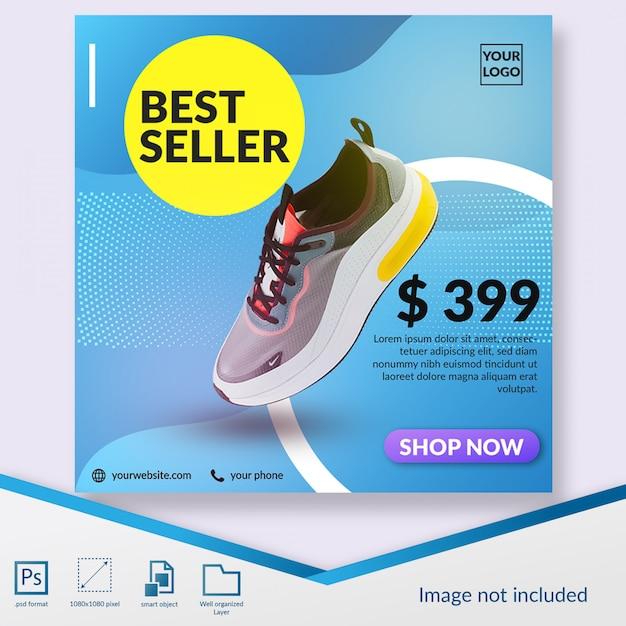 Plantilla de publicación de instagram o banner cuadrado de oferta de productos de zapatos más vendidos PSD Premium