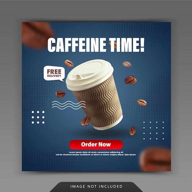 Plantilla de publicación de instagram para redes sociales de cafetería PSD Premium