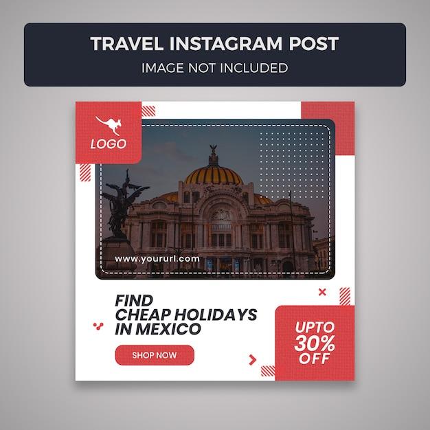 Plantilla de publicación de instagram para redes sociales de viajes PSD Premium