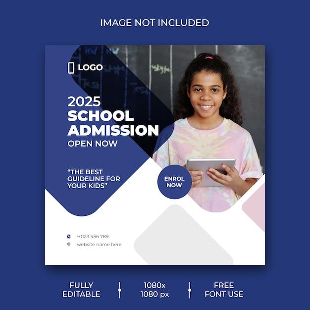 Plantilla de publicación de medios sociales de admisión escolar PSD gratuito