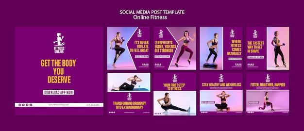 Plantilla de publicación de medios sociales de concepto de fitness en línea PSD Premium