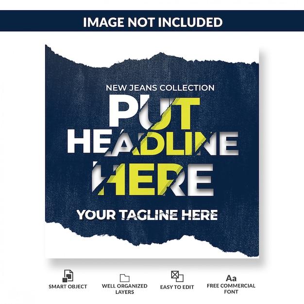 Plantilla de publicación de medios sociales de efecto de texto de papel rasgado PSD Premium