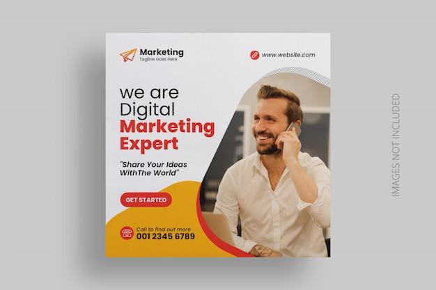 Plantilla de publicación de medios sociales de marketing digital PSD Premium