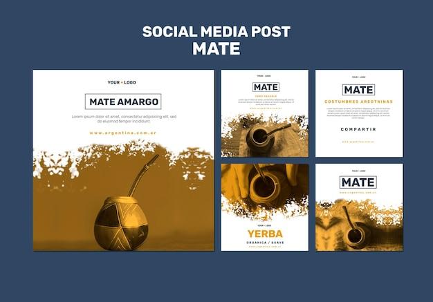 Plantilla de publicación de meia social de mate concept PSD Premium