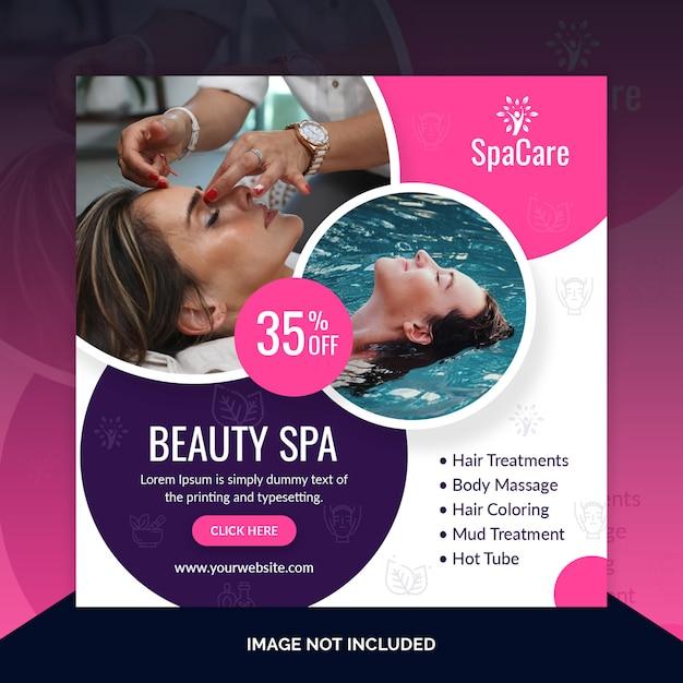 Plantilla de publicación de oferta de descuento de spa de belleza PSD Premium