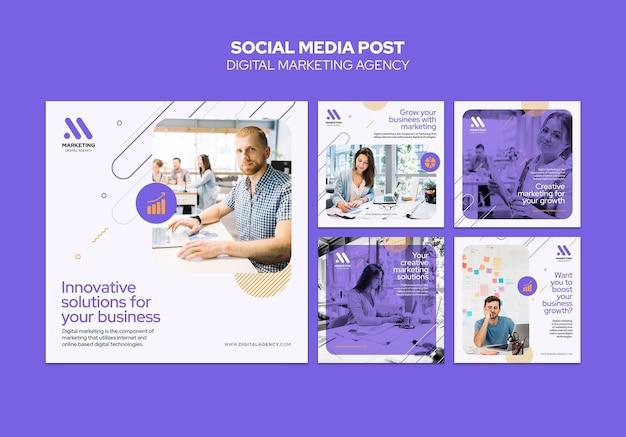 Plantilla de publicación de redes sociales de agencia de marketing digital PSD gratuito