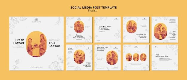 Plantilla de publicación de redes sociales de anuncio de floristería PSD gratuito