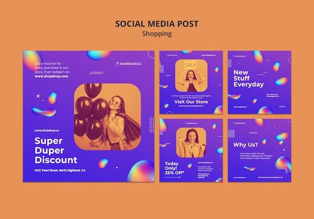 Plantilla de publicación de redes sociales de anuncios de compras PSD Premium