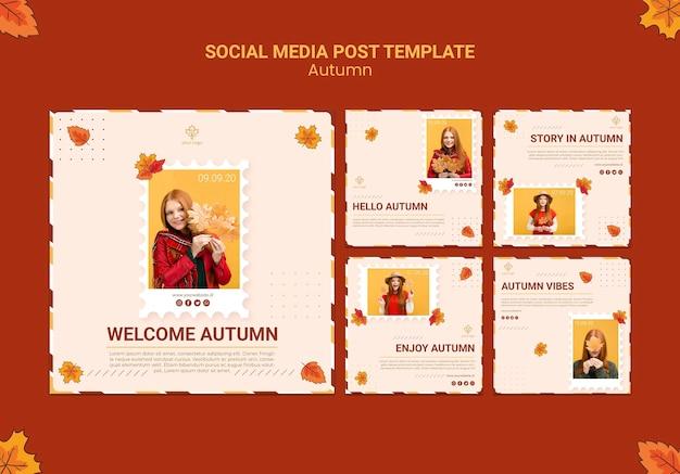 Plantilla de publicación de redes sociales de anuncios de otoño PSD gratuito