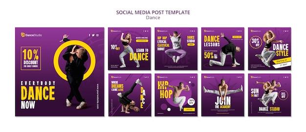 Plantilla de publicación de redes sociales de baile PSD gratuito