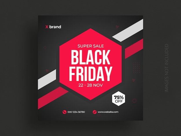 Plantilla de publicación de redes sociales y banner web de venta de viernes negro PSD Premium