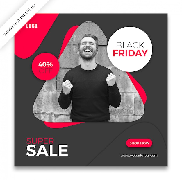 Plantilla de publicación de redes sociales de black friday PSD Premium