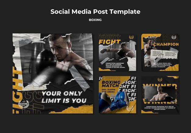 Plantilla de publicación de redes sociales de boxeo PSD gratuito