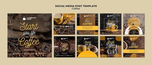 Plantilla de publicación de redes sociales de café PSD gratuito
