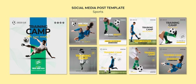 Plantilla de publicación en redes sociales de campo de entrenamiento PSD Premium
