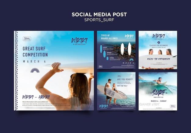 Plantilla de publicación de redes sociales de clases de surf PSD gratuito