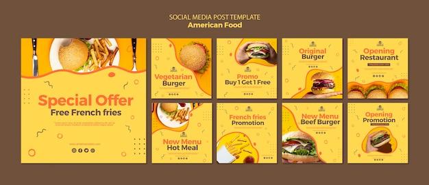 Plantilla de publicación de redes sociales con comida americana PSD gratuito