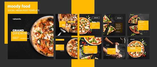 Plantilla de publicación de redes sociales de comida de restaurante moody PSD gratuito