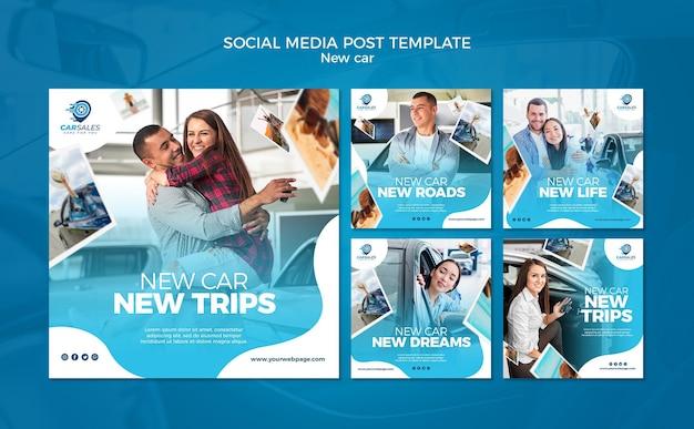 Plantilla de publicación de redes sociales de concepto de coche nuevo PSD gratuito