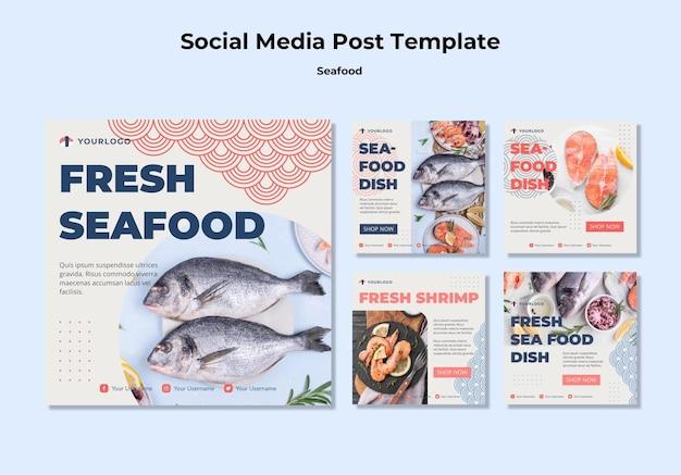 Plantilla de publicación de redes sociales de concepto de mariscos PSD gratuito