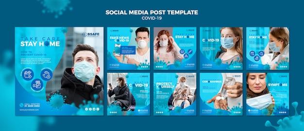 Plantilla de publicación en redes sociales de coronavirus PSD gratuito