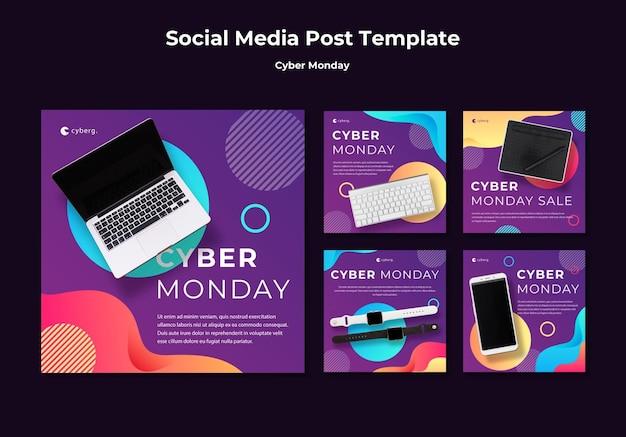 Plantilla de publicación de redes sociales de cyber monday PSD gratuito