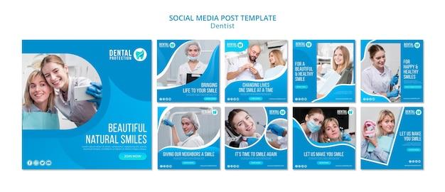 Plantilla de publicación de redes sociales de dentista PSD gratuito