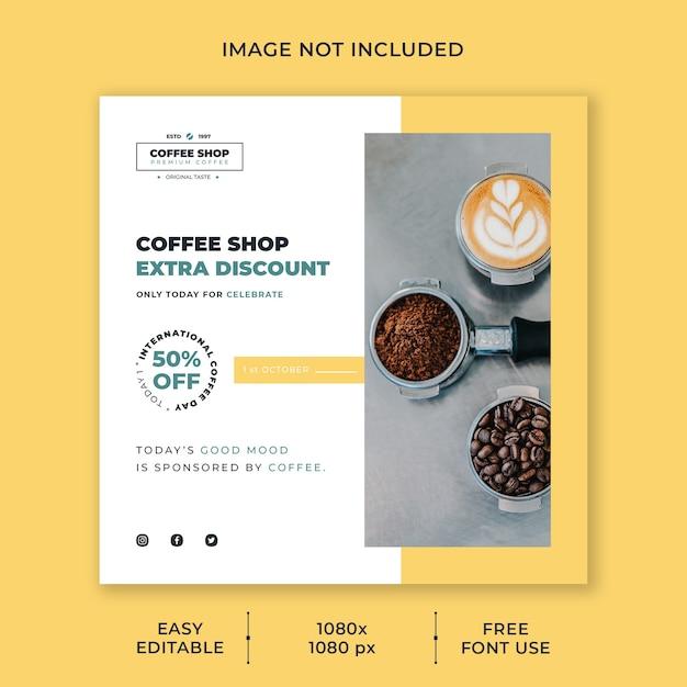 Plantilla de publicación en redes sociales del día internacional del café PSD Premium