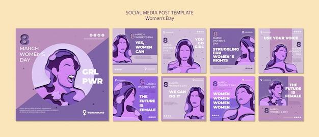 Plantilla de publicación de redes sociales para el día de la mujer PSD gratuito