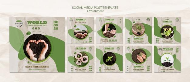 Plantilla de publicación de redes sociales del día mundial del medio ambiente PSD gratuito