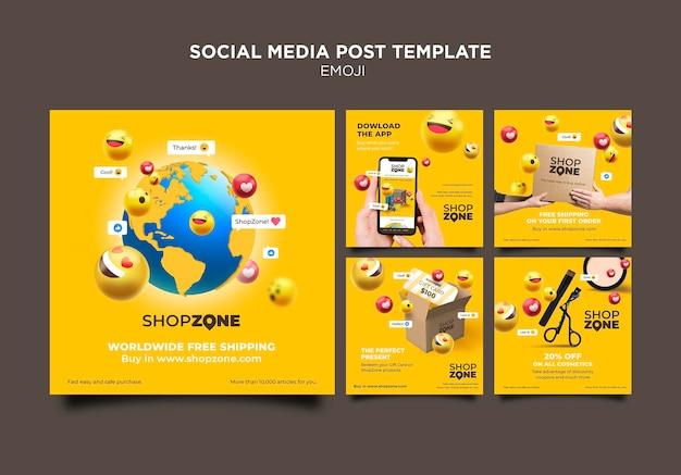 Plantilla de publicación de redes sociales de emoji PSD gratuito