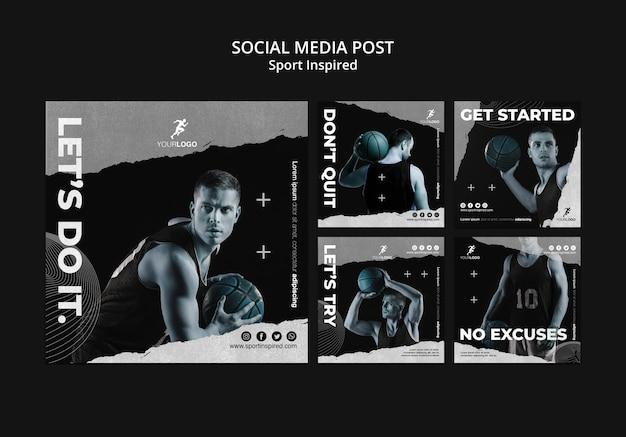 Plantilla de publicación de redes sociales de entrenamiento de baloncesto PSD gratuito