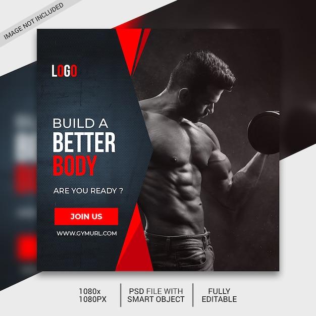Plantilla de publicación de redes sociales de fitness, publicación de instagram PSD Premium