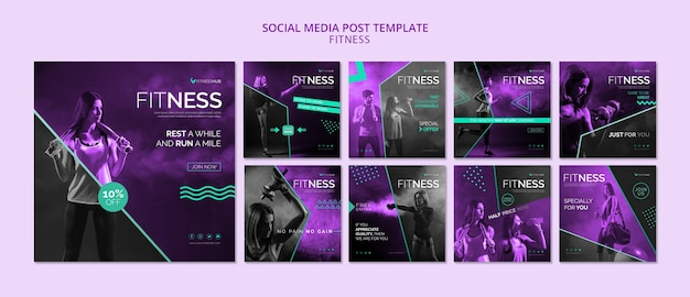 Plantilla de publicación de redes sociales de fitness PSD Premium