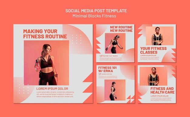 Plantilla de publicación de redes sociales de fitness PSD gratuito