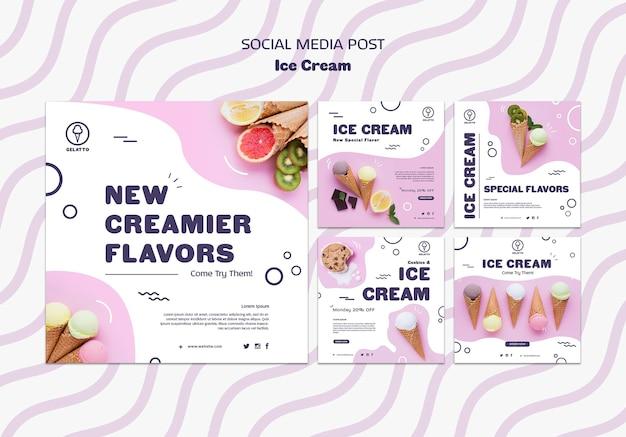 Plantilla de publicación de redes sociales de helados PSD gratuito