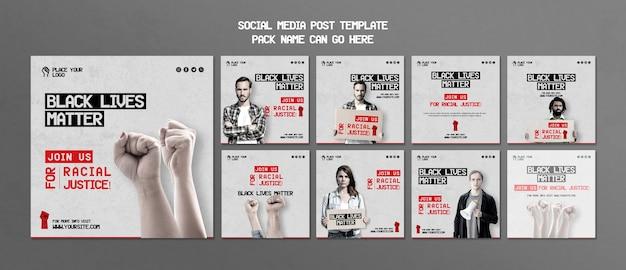 Plantilla de publicación de redes sociales importa vidas negras PSD gratuito