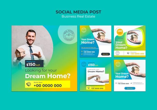 Plantilla de publicación de redes sociales inmobiliarias PSD gratuito