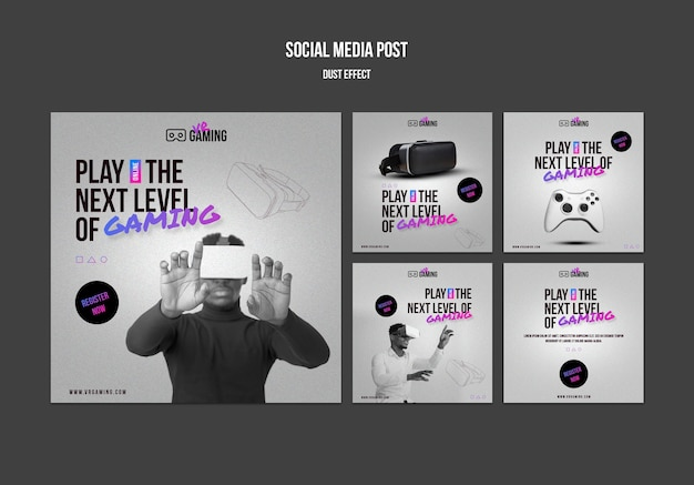 Plantilla de publicación de redes sociales de juegos de realidad virtual PSD gratuito