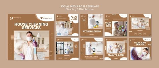 Plantilla de publicación de redes sociales de limpieza y desinfección PSD Premium
