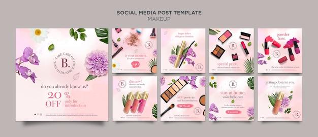 Plantilla de publicación de redes sociales de maquillaje PSD gratuito