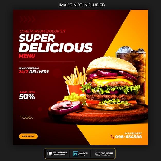 Plantilla de publicación de redes sociales de menú de comida y hamburguesa de restaurante PSD gratuito
