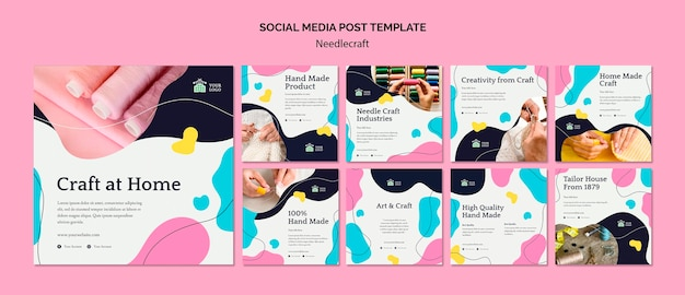 Plantilla de publicación de redes sociales de needlecraft PSD gratuito