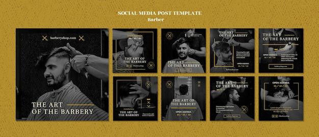 Plantilla de publicación de redes sociales de peluquería PSD Premium